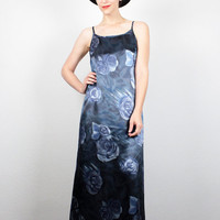 Vintage 90s Dress Shiny Rose Floral Print Maxi Dress Blue Gray Silver 1990s Dress Slip Dress Rave Soft Grunge Dress Club Kid Dress M Medium