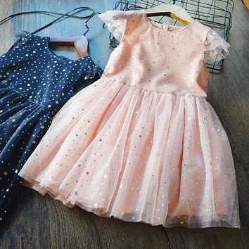 Girls dress 2018 summer Fashion girls sequins party princess dress cotton sleeveless A-line black lace dress for girls clothes