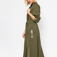 Lavish Alice Cargo Pocket & D-ring Belt Utiltity Duster Jacket