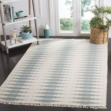 Safavieh Hand-woven Southwestern Kilim Ivory/ Blue Wool Rug (8' x 10') | Overstock.com Shopping - The Best Deals on 7x9 - 10x14 Rugs
