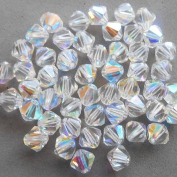 Lot of 24 6mm Crystal AB Czech Preciosa Crystal bicone beads, faceted glass crystal AB bicones C4801