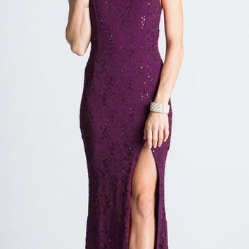 Eggplant Halter Evening Gown Fit and Flare with Slit