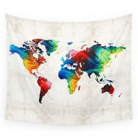 Society6 World Map 19 Colorful Art By Sharon Cumm Wall Tapestry