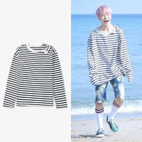 KPOP BTS Bangtan Boys Army Mainlead    Boys JIMIN Neckline Stripe Sweatershirt Pullover Hoodie AT_89_10