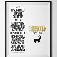 Capricorn Qualities Print