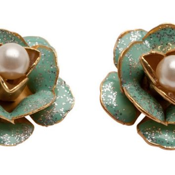 Sparkling Green Flower Earring Studs
