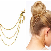 cheap-fine Vintage Hair Accessories Double Gold Chain With Leaf Comb Head New Headbands For Women Girl Lady