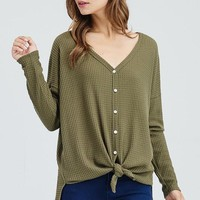 Waffle Knit Button Up Top - Olive