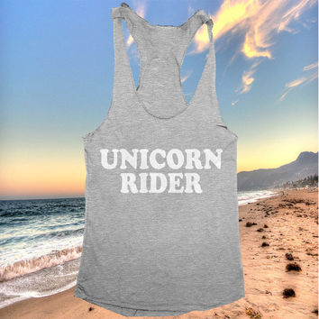 unicorn rider tank top funny women ladies lady tops fitness yoga crossfit training workout gym summer cool