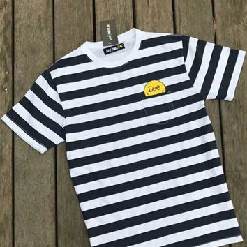 LEE Smiley face Bust Side Flag letters print  T-shirt top C-A-HRWM Stripe