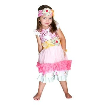 Giggle Moon-Honeycomb & Blossoms Tutu Set  (size 4T)