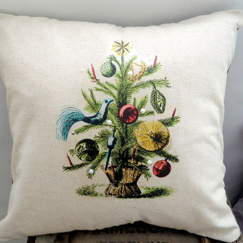 Primitive Christmas Tree Pillow Case, 14X14 Cream,Charlie Brown, Shabby Chic with Envelope Back, Home Decor, Vintage Look