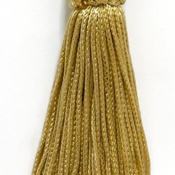 Set of 10 Light Gold Crown Head Chainette Tassel, 4 Inch Long with 2 Inch Loop, Basic Trim Collection Style# CT04 Color: Light Gold - B7