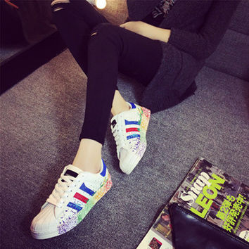 Unisex Shoes Stripe Multicolor Splash Ink Shell Head Plate Shoes Small White Shoes Couple Sneakers