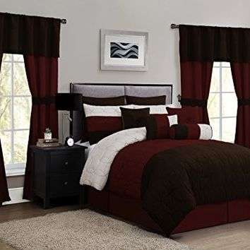 Geneva Home Fashion 20-Piece Lenox Comforter Set, Queen, Taupe/Red/Chocolate