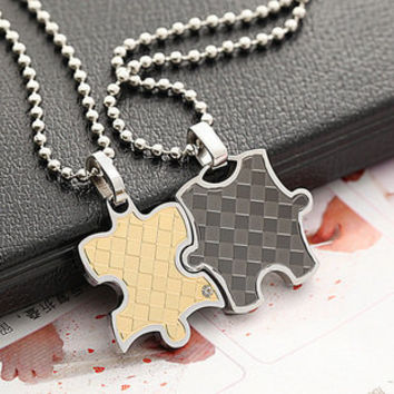 Hugging Jigsaw Puzzle 316L Stainless Steel Couple Necklace - GULLEITRUSTMART.COM
