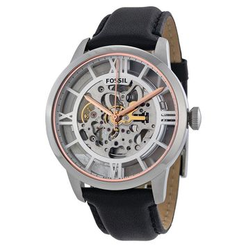Fossil Townsman Automatic See Through Dial Black Leather Mens Watch ME3041