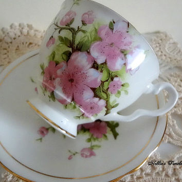 Vintage Royal Stafford Fine Bone China English Tea Cup and Saucer with Cherry Blossoms Antique Tea Cup with Pink Flowers Replacement China