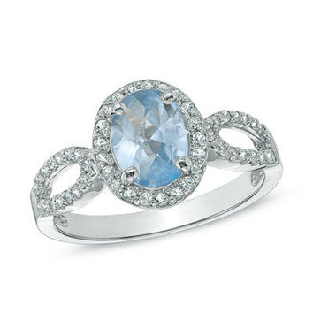 Oval Lab-Created Aquamarine and White Sapphire Ring in Sterling Silver - Clearance - Zales