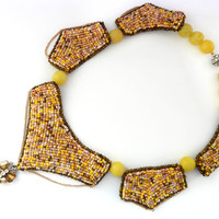 Beaded necklace Sandy - summer yellow embroidered seed bead jewelry - handmade beadwork with chains - genuine leather backside - sand color