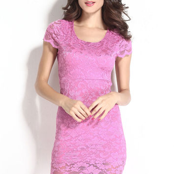Fuchsia Enticing Lace Surface Backless Bodycon Dress With Lining LAVELIQ