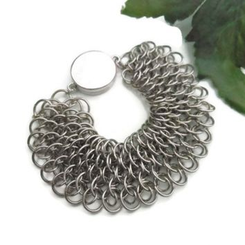 Silver Bracelet, Dragonscale Weave Chainmail, Unisex Jewelry, CraftingMemories