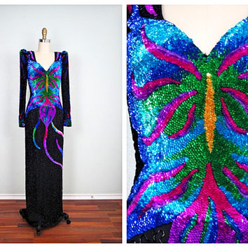 80's Butterfly Art Deco Sequin Gown / Bright Artsy Dress / Abstract Multi Colored Beaded Sequined Party Dress Small