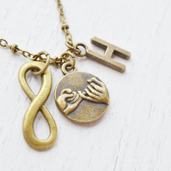 2 Infinity Pinky Promise necklaces,best friends infinity charm,couples necklace,bff,pinky promise,pinky shake,best friends,sisters promise