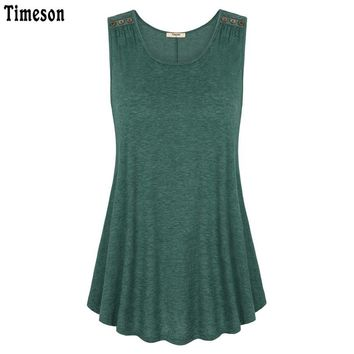 Timeson Summer 2017 Sleeveless Solid Tee V-Neck Women Tanks Wool Button Big Hem Long Loose Tunic Casual Vest Female Knitted Tops