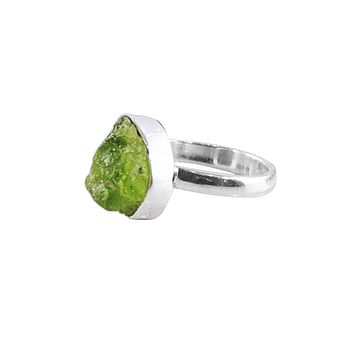 Peridot Raw Crystal Ring Sterling Silver