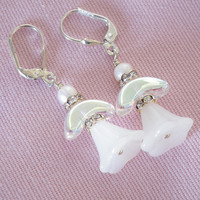 White Glass Angels, Silver Leverbacks, Christmas Earrings