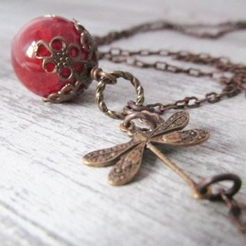 Dragonfly Necklace, Dragonfly Lovers Necklace, Orange Fire Agate Stone Necklace, Orange Beaded Necklace, Vintage Style Jewelry, Unique