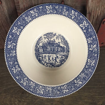 vintage Homer Laughlin shakespeare country blue leaves VEGETABLE bowl stratwood collection, Mid Century blue and white vintage serving bowl