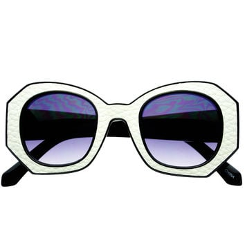 Womens Thick Framed Retro Designer Round Sunglasses Shades R1550