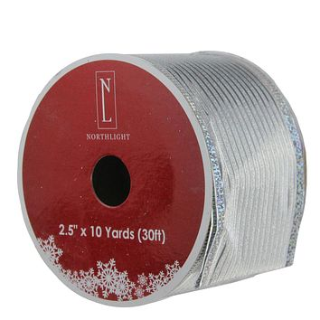 "Dazzling Red and Silver Metallic Stripe Wired Christmas Craft Ribbon 2.5"" x 10 Yards"