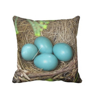 Robin Nest Pillow Case, Robin Egg Pillow, Bird Nest Pillow, Nursery Pillow, Blue Pillow Cover, Canvas throw pillow, Shabby Chic 16X16, 18X18
