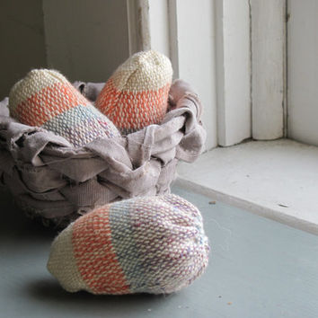 Decorative Hand Woven Fabric Nesting Eggs in a Recycled Rag Basket, Rustic Country Farm Cottage Chic Kitchen Home Decor Soft Sculpture, Gift