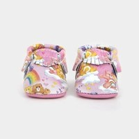 Freshly Picked Care Bears Limited Edition Size 2 Pink Moccasins NIB 6 -12 months