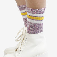 Second Base Striped Crew Socks