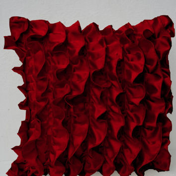 Red Satin Ruffle Pillow - Sofa pillows- Decorative throw pillow covers - Red Ruffle couch pillow - Ruffle throw cushion - 18x18 pillow