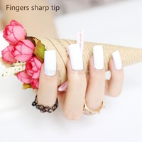 2017 fashion beautiful candy color Nail finished fake nails long paragraph 20pcs White L W