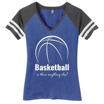 Basketball is There Anything Else Ladies Game Day Style Ring Spun with Stripes T-Shirt