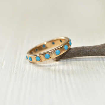 CLEARANCE Turquoise Eternity Ring - Turquoise Wedding Band Yellow Gold  Ring with Pave Set Turquoise
