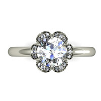 floral design ring.hand made ring, white gold diamond moissanite engagement ring. style 110WDM