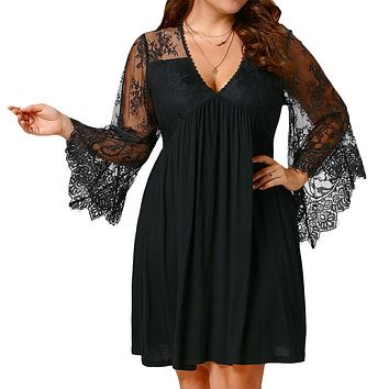 Plus Size Lace Flare Sleeve Black Tunic Dress