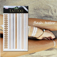Women Choker Bracelet Metallic Leaf Tatto Temporary Tattoo Sex Product Flash Tatouage Metalic Silver Gold Tattoos Tatoo Body Art