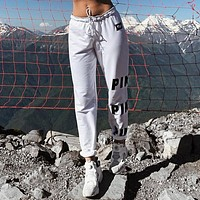 Women Casual Fashion Simple Letter Print Drawstring High Waist Leisure Pants Trousers Sweatpants