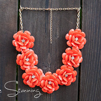 Flower Necklace in Coral - Rose Necklace - J. Crew Inspired Rosette Necklace