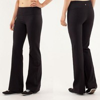 Lululemon Fashion Solid Yoga Tight Wide leg Pants Trousers Sweatpants