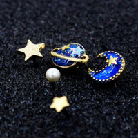 Sun moon stars saturn planet hipster space galaxy glitter pearl stud earrings lo